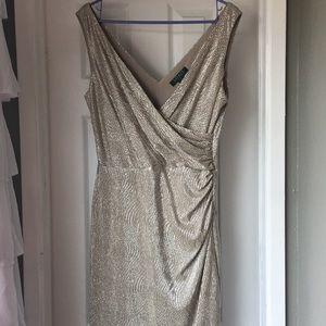 Lauren by Ralph Lauren silver cocktail dress